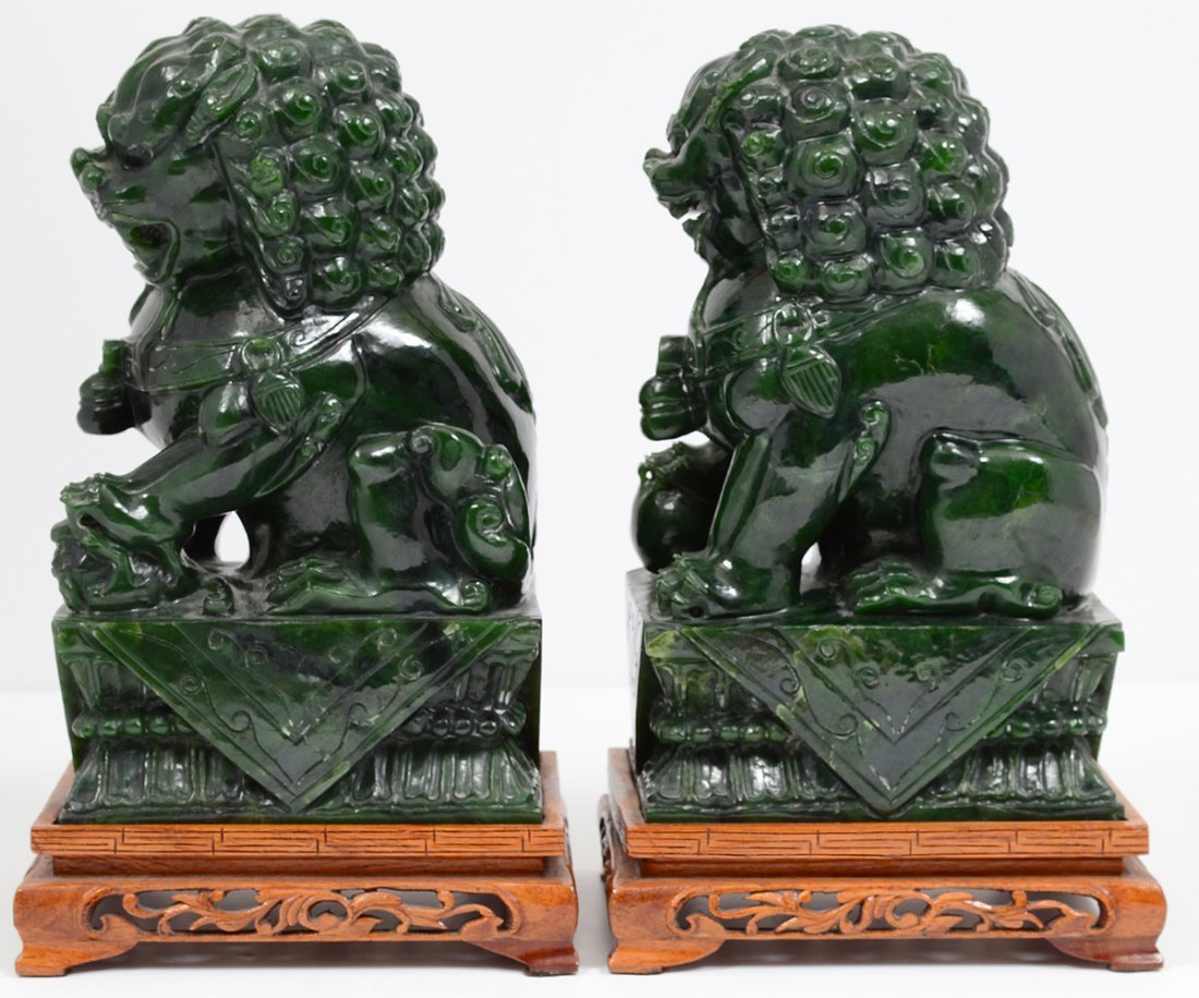 PAIR OF SPINACH JADE FU DOGS - 4