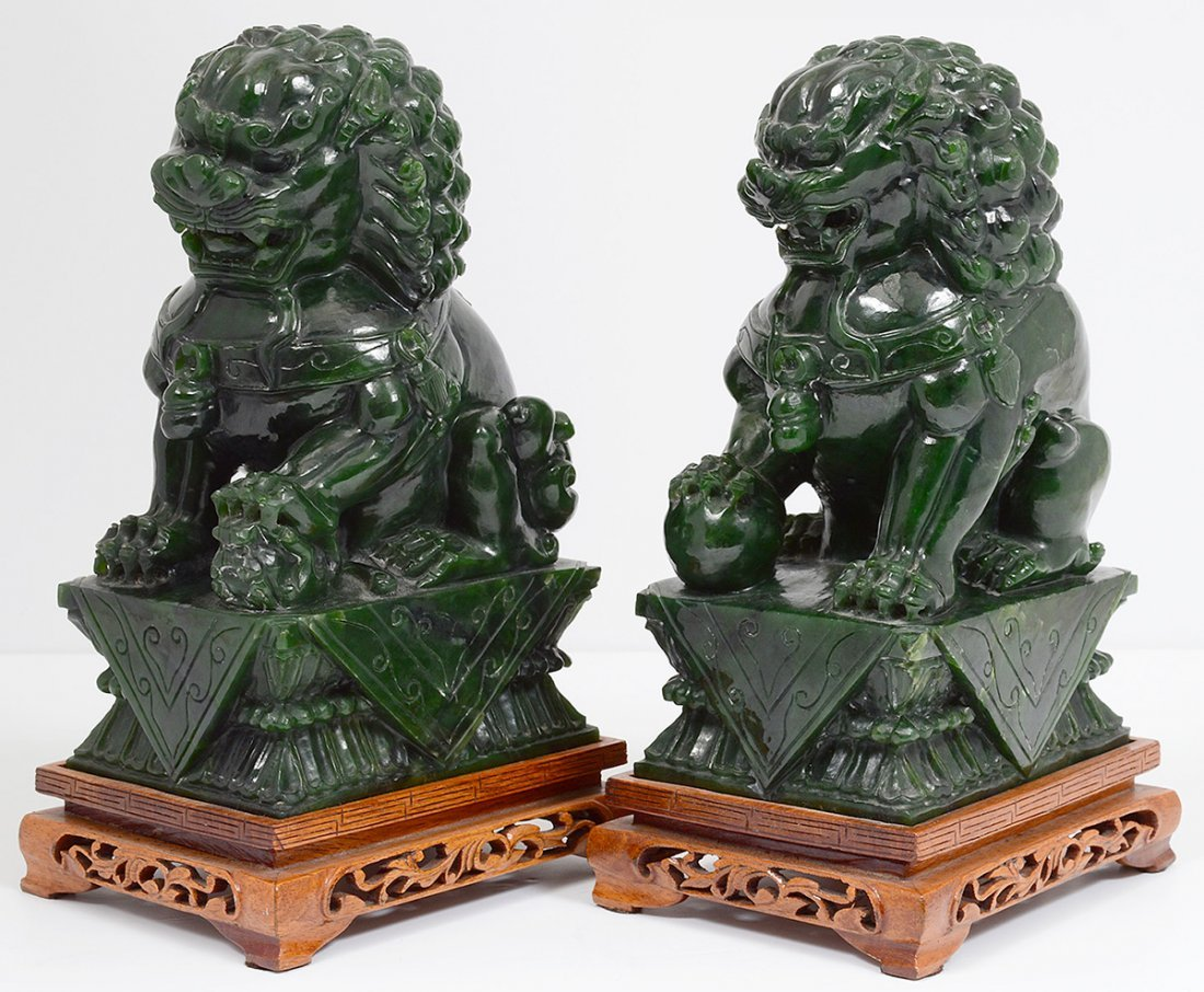 PAIR OF SPINACH JADE FU DOGS - 5