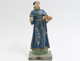 Carved And Polychromed Wood Santos Of A Priest