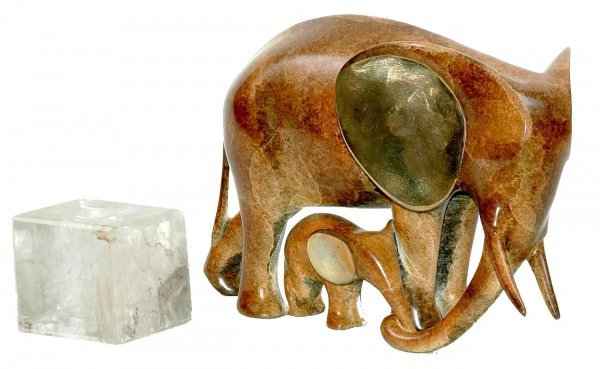 413: Bronze Elephant and Square Paperweight
