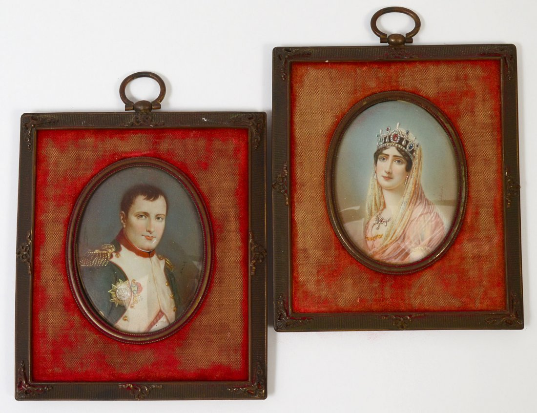 PAIR OF CONTINENTAL MINIATURE PAINTINGS ON IVORY