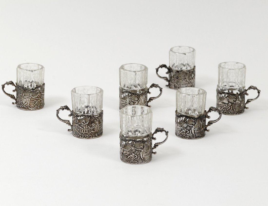 SET OF SEVEN CONTINENTAL SILVER AND ETCHED GLASS