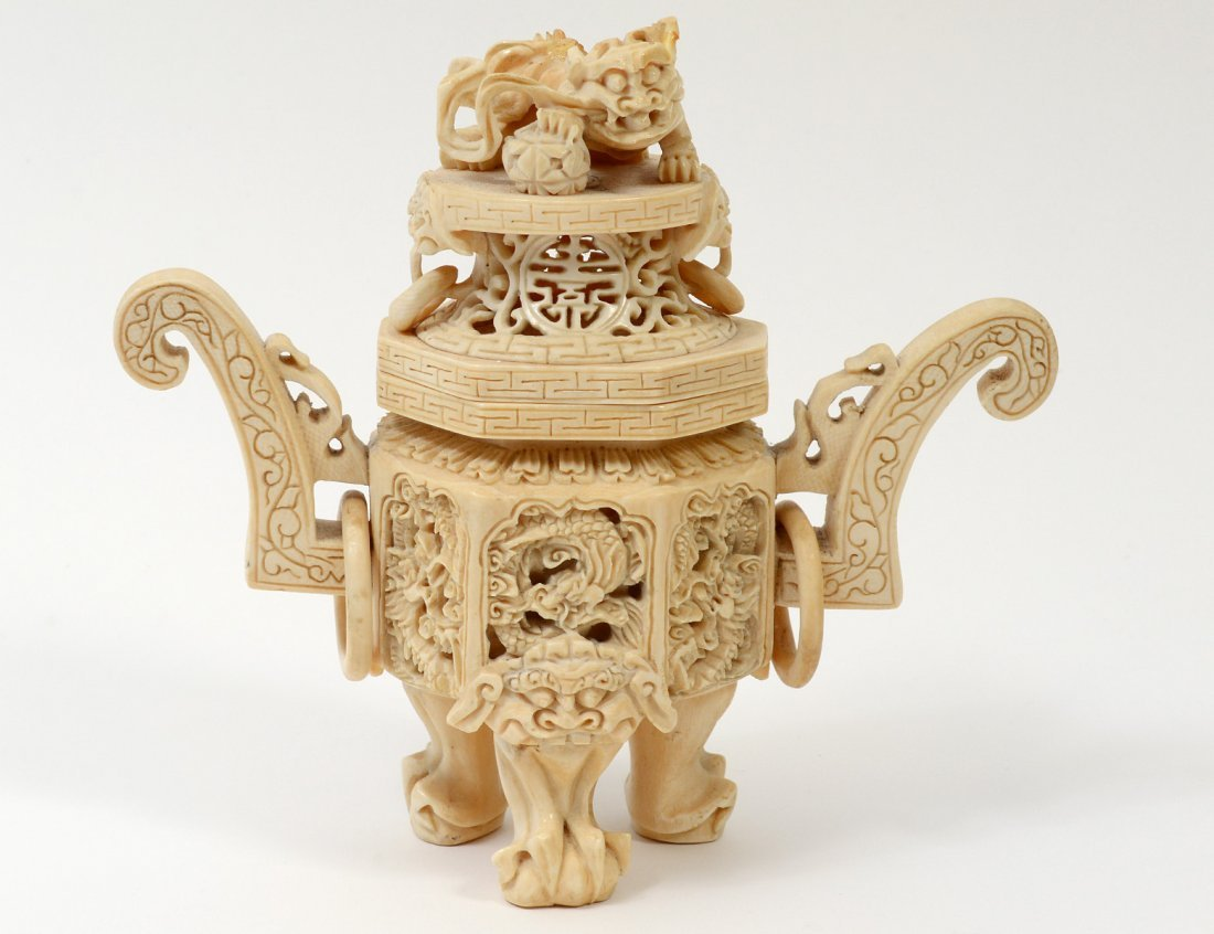 CARVED IVORY KORO AND COVER