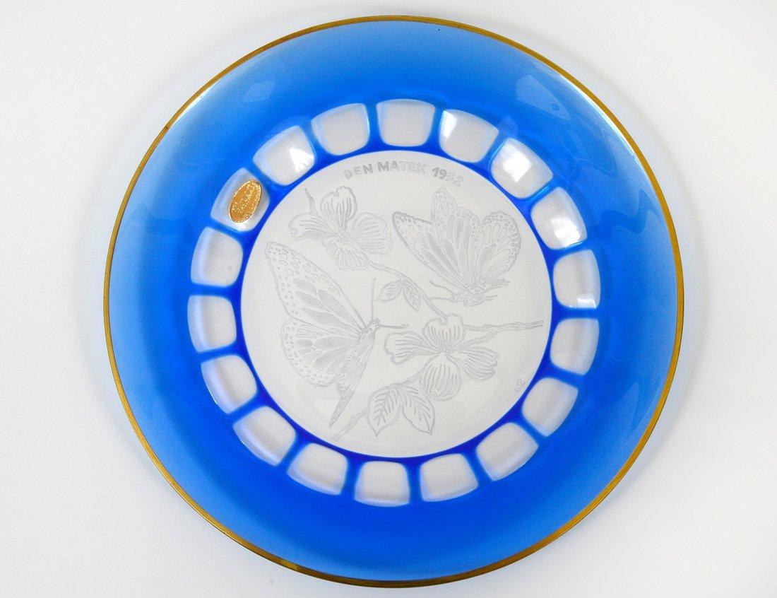 SET OF TEN MOSER BLUE OVERLAY GLASS DESSERT PLATES