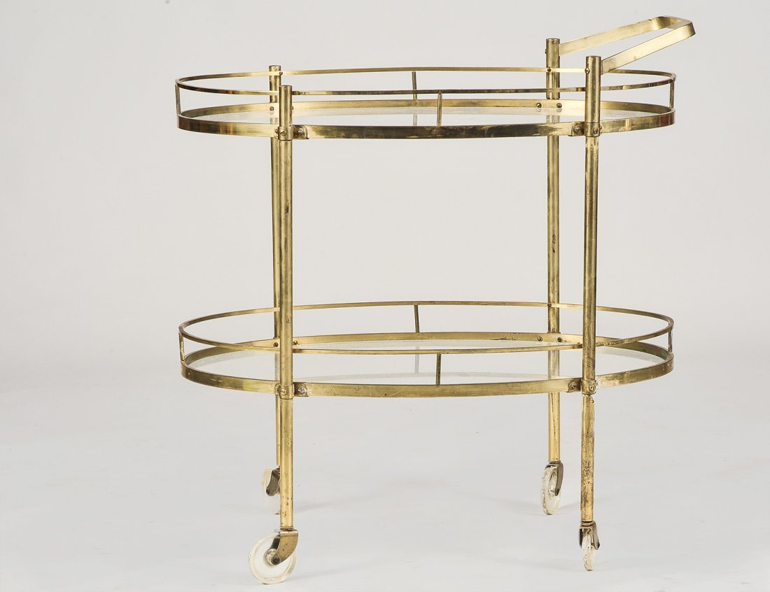 BRASS AND GLASS SERVING CART