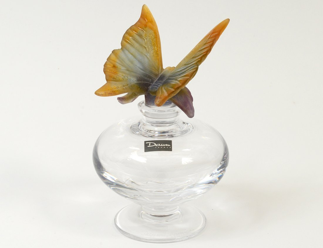 DAUM CLEAR CRYSTAL AND AMBER PATE DE VERRE PERFUME