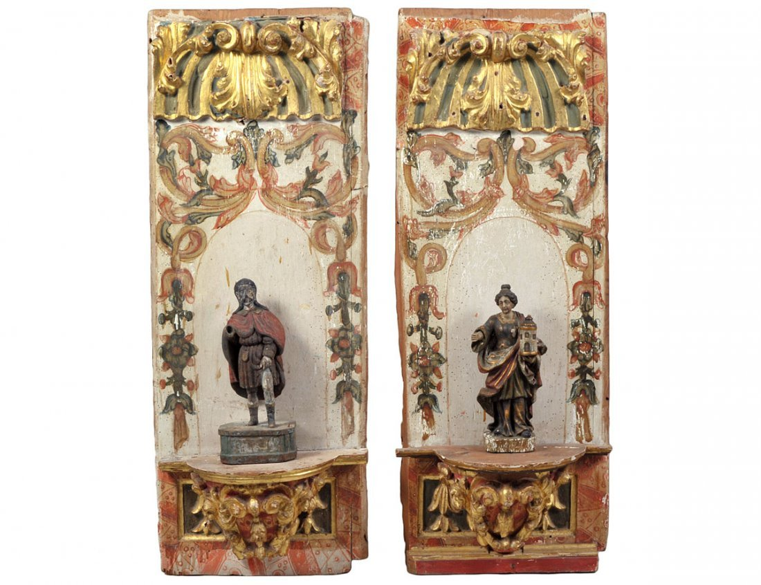 PAIR OF VENETIAN CARVED AND POLYCHROMED WOOD WALL