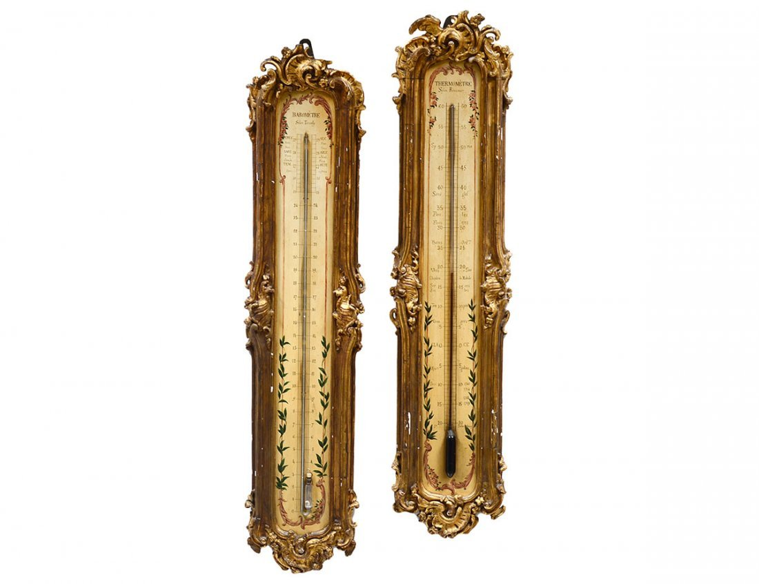 FINE CARVED AND GILTWOOD BAROMETER/THERMOMETER