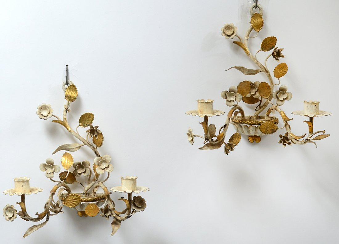 PAIR OF TWO LIGHT PAINTED METAL SCONCES