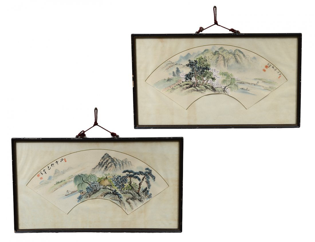 PAIR OF CHINESE FAN PAINTINGS
