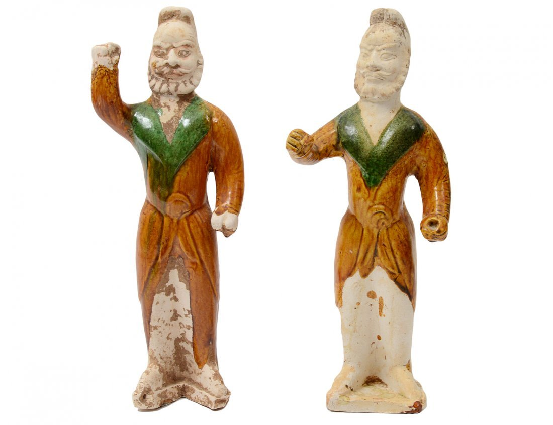 PAIR OF TANG SANCAI-GLAZED POTTERY GROOMS
