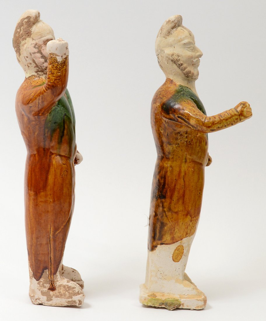PAIR OF TANG SANCAI-GLAZED POTTERY GROOMS - 6