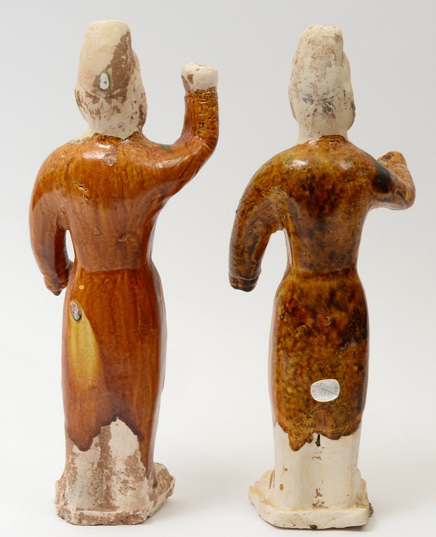 PAIR OF TANG SANCAI-GLAZED POTTERY GROOMS - 7