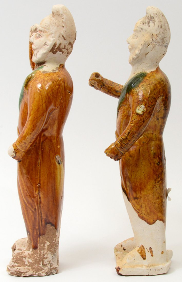 PAIR OF TANG SANCAI-GLAZED POTTERY GROOMS - 8