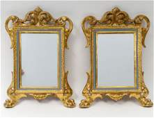 PAIR OF CARVED AND GILTWOOD SMALL MIRRORS