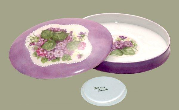 1: Large Purple Porcelain Limoges Powder Box