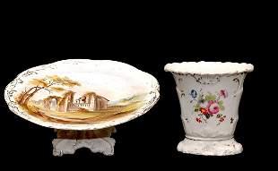 Two Pieces Paris Porcelain Vase n Cake Plate
