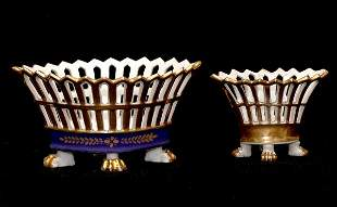 Pair of Paris Reticulated Royal Blue n Gold Baskets