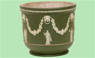 Wedgwood Green Jasperware Cache pot Vase