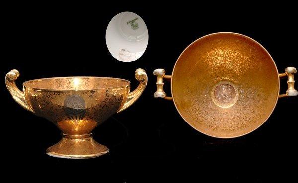 16: Hutschenreuter Two Handled Gold Centerpiece Bowl