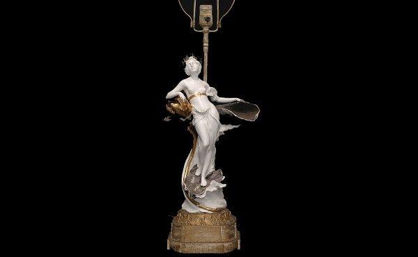 18: European Porcelain Blanc de Chine Maiden Table Lamp