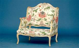 French Carved Wing Sides Open Arms Armchair