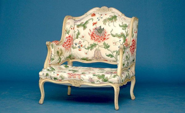 21: French Carved Wing Sides Open Arms Armchair
