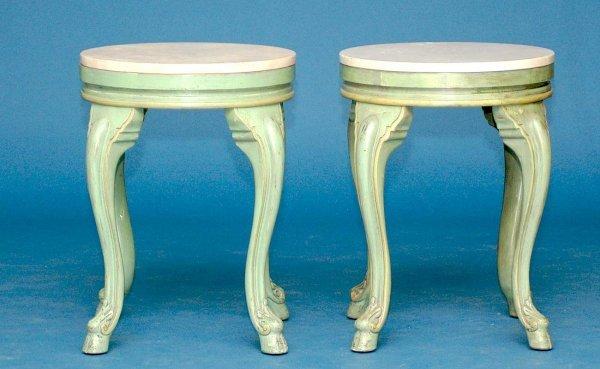 22: Pr Marble Top Painted Breakers Hotel Side Tables