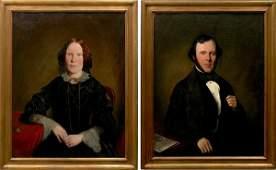 103 Pair English School 19th C Portraits Oil on Canvas