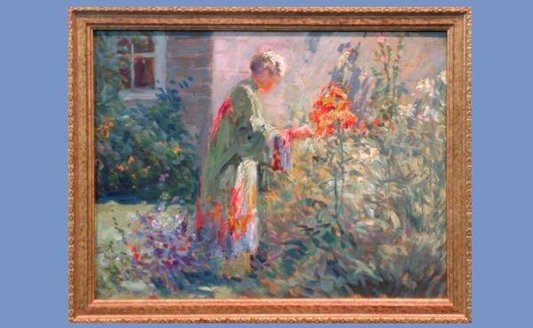 163: Matilda Brown 1869-1954 Lady Picking  Flowers Oil