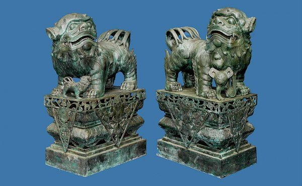 262: Two Large Bronze Foo Dogs on Stands