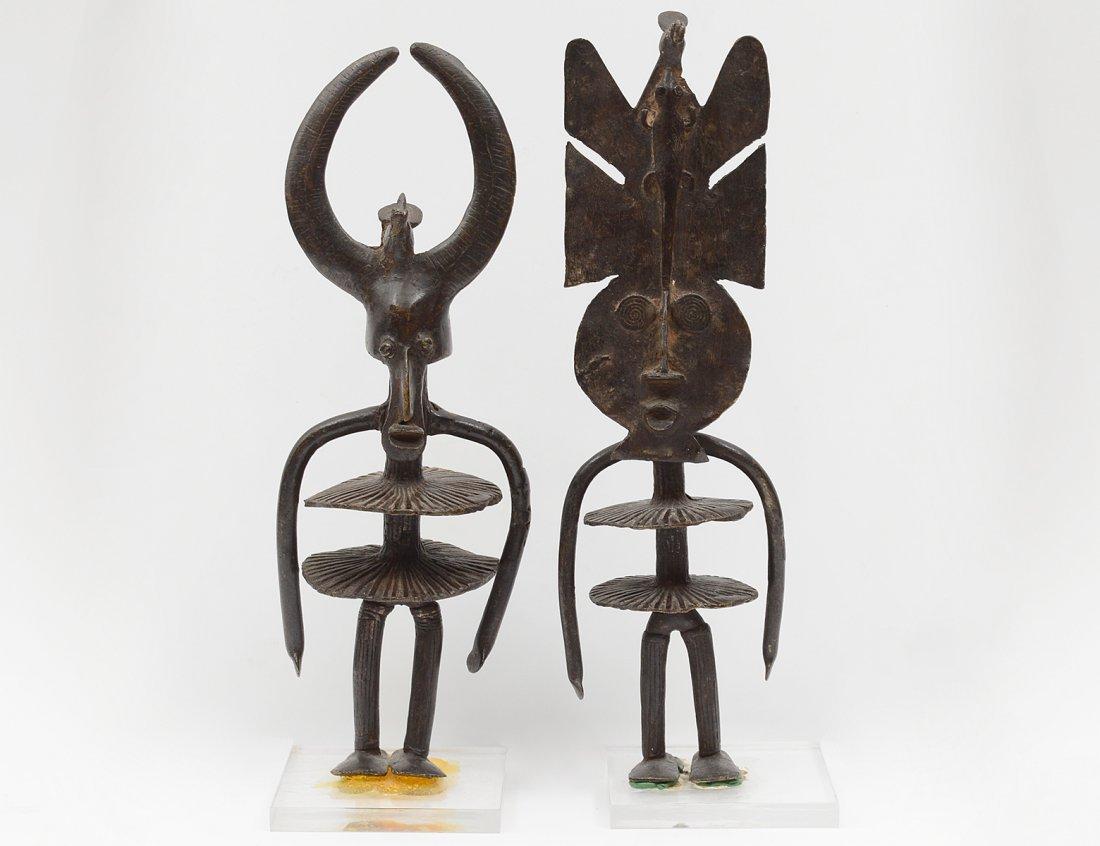 TWO AFRICAN PATINATED BRONZE BENIN FIGURES