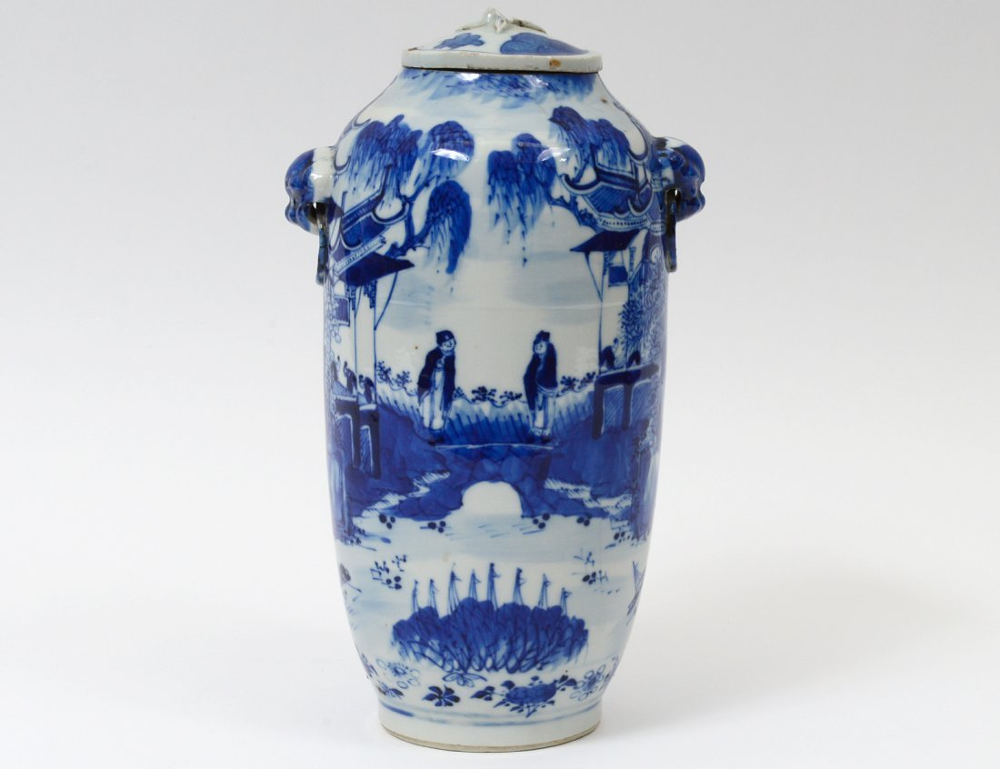 BLUE AND WHITE PORCELAIN VASE AND COVER