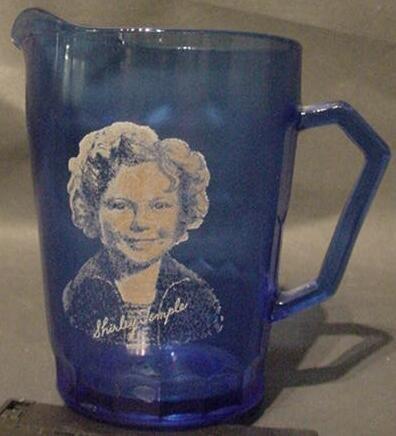 3015: 1934 Shirley Temple Cobalt Blue Glass Wheaties Pi