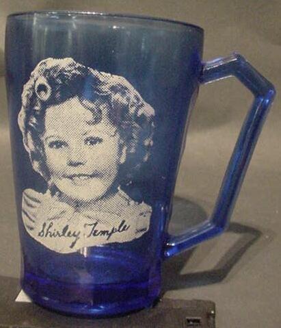 3016: Vintage Shirley Temple Cobalt Blue Glass Mug.