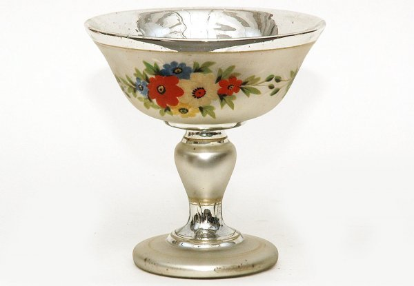 21: Rare Mercury Glass Frosted Painted Compote