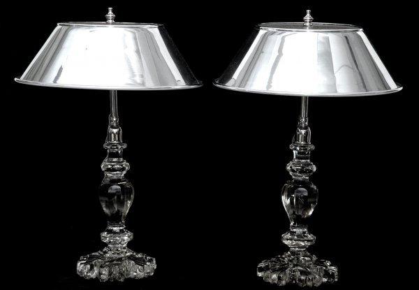 258: Pair Irish Crystal Lamps