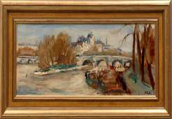 272 Robert Philipp Seine River Paris Oil on Canvas