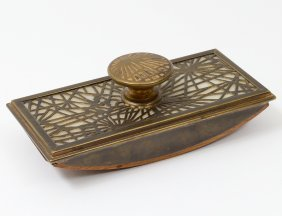 "Tiffany Studios Bronze ""pine Needle"" Rocker Blotter"