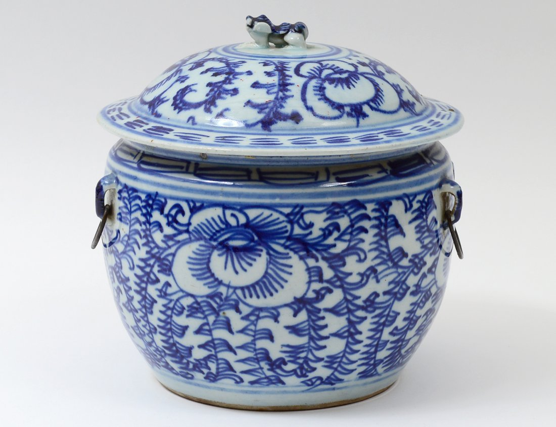 BLUE AND WHITE PORCELAIN JAR AND COVER