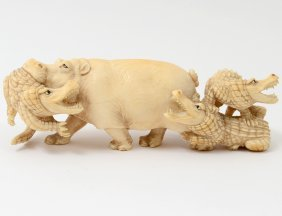 Well Carved Ivory Animal Group