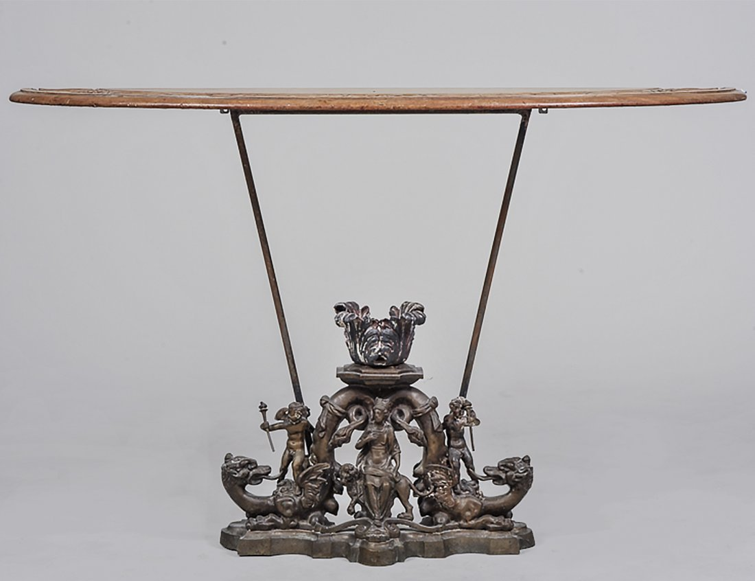 CARVED WOOD AND METAL CONSOLE TABLE