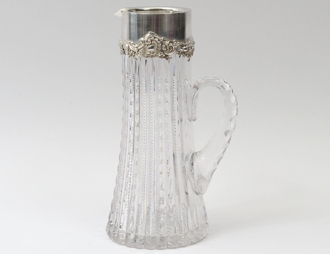STERLING SILVER MOUNTED CUT GLASS PITCHER