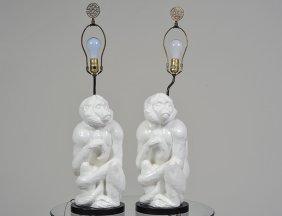 Pair Of Blanc De Chine Pottery Monkey Lamps
