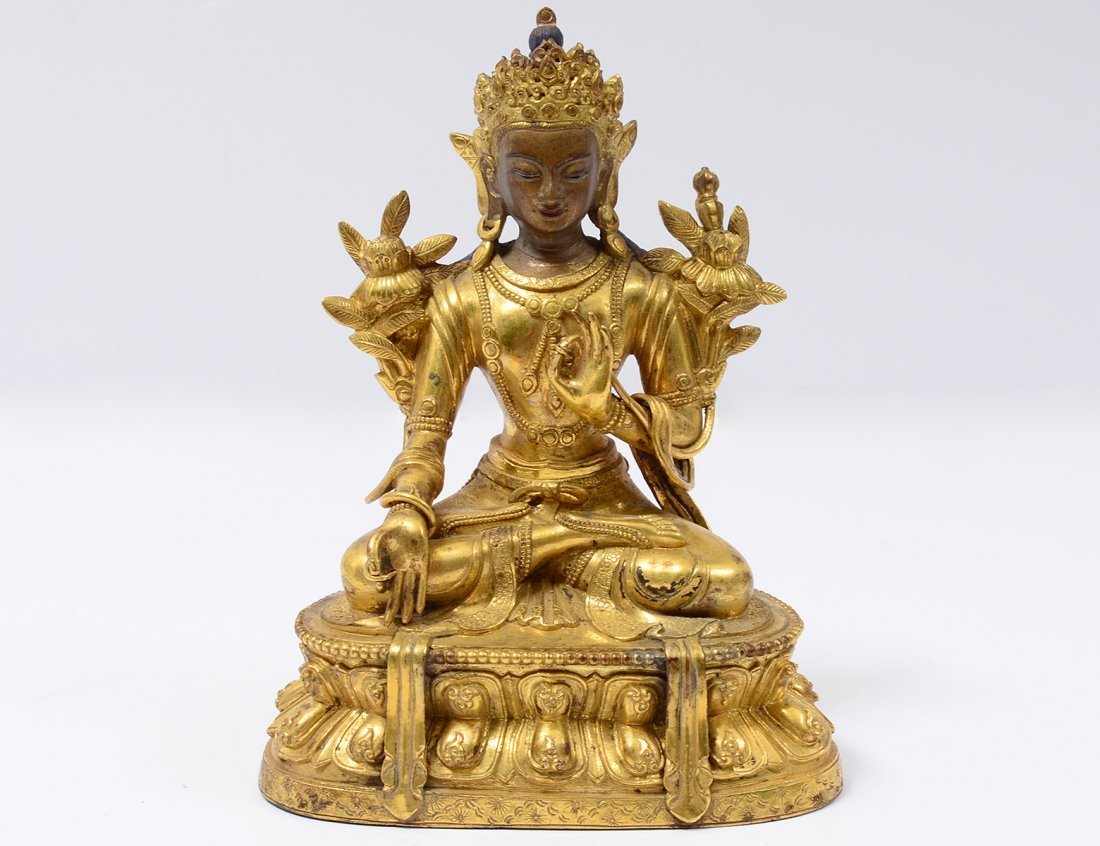 GILT BRONZE FIGURE OF TARA