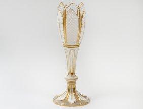 White Overlay Glass Vase