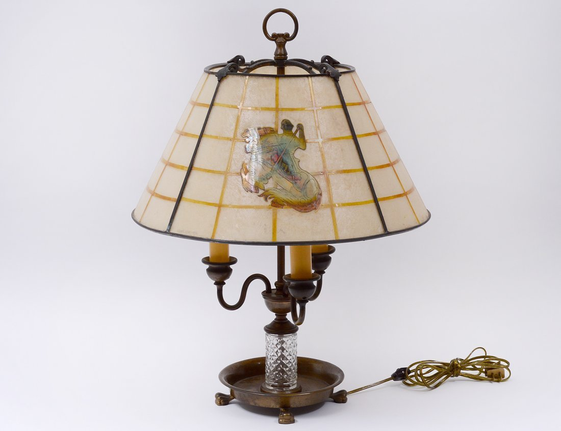 "HANDEL ""CHIPPED ICE"" GLASS AND METAL LAMP"