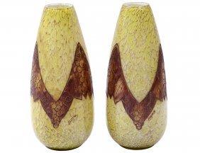 Pair Of Legras Glass Vases