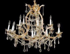 Maria Theresa Style Sixteen Light Glass Chandelier