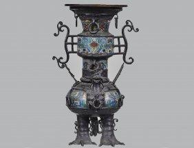 Large Bronze And Champleve Enamel Vase
